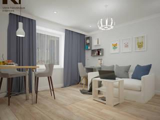 квартира-студия, 25 кв. м. Гостиные в эклектичном стиле от студия дизайна интерьеров Веры Невской Эклектичный