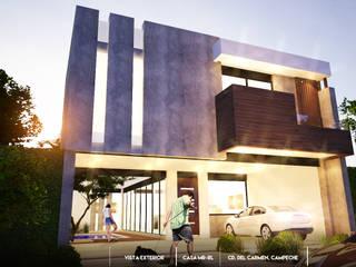 Casa en terreno de 10 x 30: Casas unifamiliares de estilo  por BLDG Arquitectos