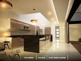 Casa en terreno de 10 x 30: Cocinas equipadas de estilo  por BLDG Arquitectos