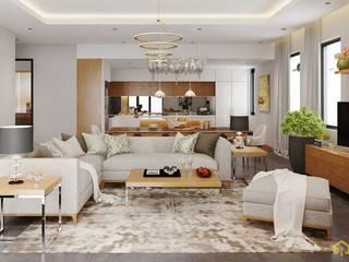 thiết kế nội thất biệt thự CEEB tại cityland Gò Vấp:  Phòng khách by công ty thiết kế nội thất CEEB tại cityland Gò Vấp
