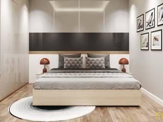 北欧スタイルの 寝室 の công ty thiết kế nội thất CEEB tại cityland Gò Vấp 北欧