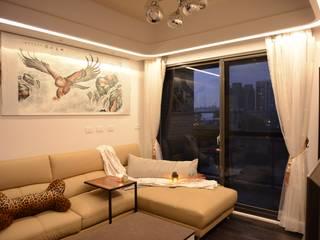 時尚單身公寓|紳士的品格 现代客厅設計點子、靈感 & 圖片 根據 台中室內設計裝修|心之所向設計美學工作室 現代風