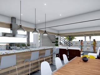 TERRAZA BUNGALÓ PR Balcones y terrazas modernos de CREA arquitectos Moderno