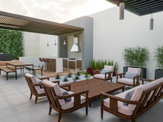 Propuesta para patio casa RL Jardines modernos de EDMtz Architecture and Archviz Moderno