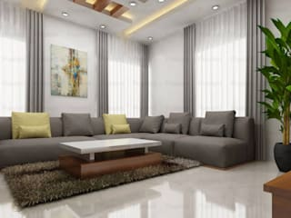 Living Room Design with Cozy Sofa's:   by 360 Home Interior