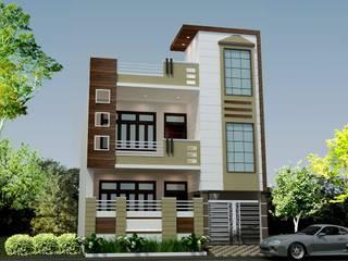 Front Elevation Design - HPL (High Pressure Laminates) 360 Home Interior Multi-Family house Multicolored
