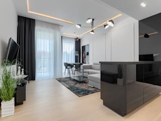 Apartament 203 w Dune C w Mielnie Nowoczesny salon od Tomasz Wachowiec Fotografia Wnętrz Nowoczesny