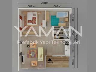 Prefabrik Ev (Yaman Prefabrik) – 68 m2 Prefabrik Ev:  tarz