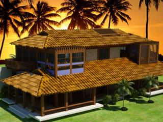 Fachada de casa frente ao mar: Casas  por 5CINQUE ARQUITETURA LTDA