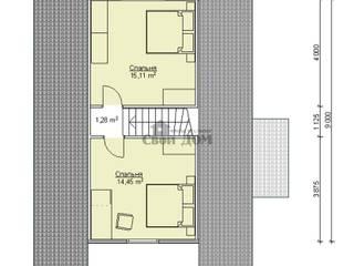дом из бруса 6*9 м: Спальни в . Автор – Свой Дом