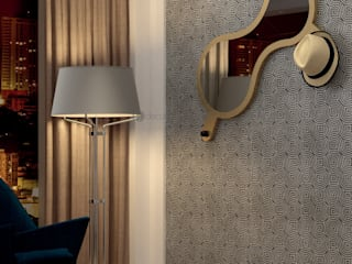 Decordesign Interiores Corridor, hallway & stairsClothes hooks & stands Chipboard Amber/Gold