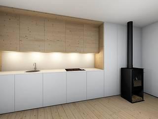 Casas da Lavoeira: Cozinhas embutidas  por GomesAmorim Arquitetura