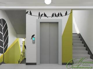 Couloir, entrée, escaliers minimalistes par Компания архитекторов Латышевых 'Мечты сбываются' Minimaliste