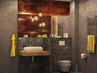Двухуровневая квартира в стиле Лофт : Ванные комнаты в . Автор – Новые Традиции,