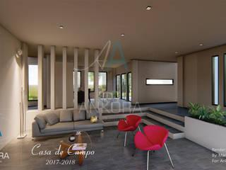 Salon y cocina: Salas de estilo  por ANKORA ARQUITECTOS