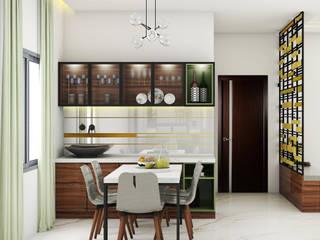 DINING CROCKERY UNIT Minimalist dining room by MK designs Minimalist Glass