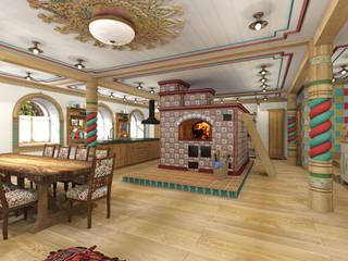 Русский стиль 1 этаж Гостиная в стиле кантри от Архитектурная студия 'Арт-Н' Кантри
