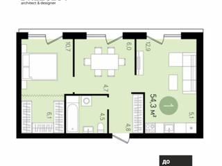 Дизайн проект квартиры в ЖК Декабристов Новосибирск:  в современный. Автор – Drezglov, Модерн