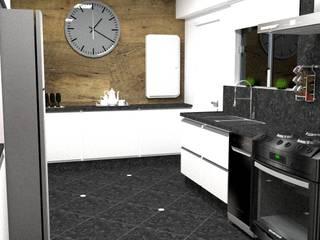 cozinha de escritório - Casa Comercial: Armários e bancadas de cozinha  por Silvana Lima e UrbanaDI