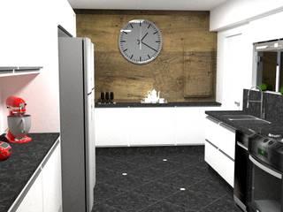 cozinha de escritório - Casa Comercial:   por Silvana Lima e UrbanaDI