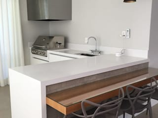 Bancada cozinha Pimarmores e granitos CozinhaBancadas Quartzo Branco