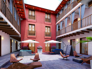 FRANCO CACERES / Arquitectos & Asociados Kolonialny korytarz, przedpokój i schody