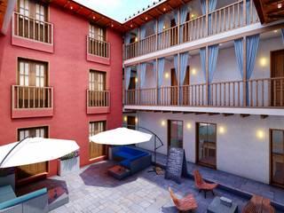 Pasillos, vestíbulos y escaleras de estilo colonial de FRANCO CACERES / Arquitectos & Asociados Colonial