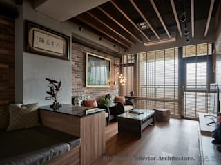 Hi+Design/Interior.Architecture. 寰邑空間設計 Ruang Keluarga Gaya Industrial Batu Bata Wood effect