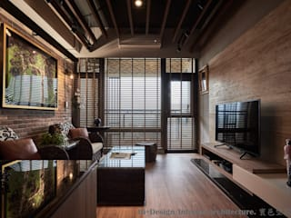 客廳全景:  客廳 by Hi+Design/Interior.Architecture. 寰邑空間設計