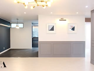 청주 현대대우 45평 아파트 인테리어: 올라운더(ALLROUNDER)의  거실