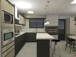 Cozinha rock´'n roll: Cozinhas embutidas  por CG arquitetura e interiores,Industrial
