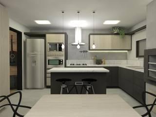 Cozinha rock´'n roll: Armários e bancadas de cozinha  por CG arquitetura e interiores,Industrial