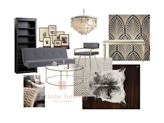 Mood board for Art Deco-inspired Living Room:   by Interiors by Corinne Bolisay