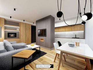 MAŁE APARTAMENT: styl , w kategorii Salon zaprojektowany przez LESINSKA CONCEPT