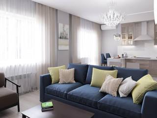 Blue & grey living room Кухни в эклектичном стиле от Дизайн студия Марии Зерщиковой Эклектичный