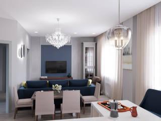 Blue & grey living room Гостиные в эклектичном стиле от Дизайн студия Марии Зерщиковой Эклектичный