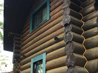 Casas de madera de estilo  por Ландшафтная Мастерская Ильи Лацис, Escandinavo
