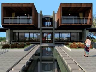 CASA DENIS, VISTA DESDE LA PISCINA: Casas campestres de estilo  por JHONATAN NAVARRO ARQUITECTO,
