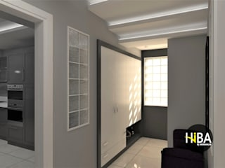 Hiba iç mimarik ห้องโถงทางเดินและบันไดสมัยใหม่ Grey