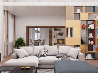 Загородный Дом в Забайкалье Гостиная в стиле модерн от VailerStudio Модерн