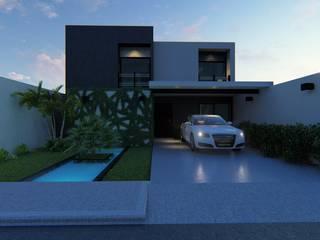 FACHADA : Casas unifamiliares de estilo  por Inspire Arquitectos