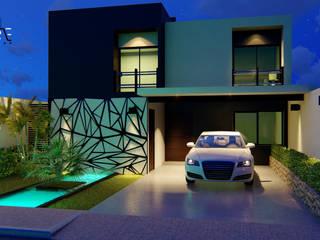 FACHADA: Casas unifamiliares de estilo  por Inspire Arquitectos