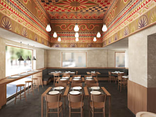 Pizzeria Gastronomia in stile moderno di ALESSIO LO BELLO ARCHITETTO a Palermo Moderno