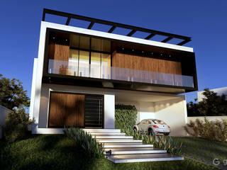 Casa Contemporânea – Casa CB: Casas familiares  por Gelker Ribeiro Arquitetura | Arquiteto Rio de Janeiro,Industrial