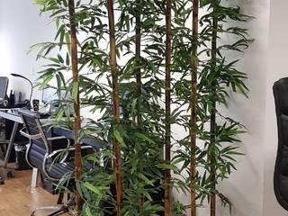 Jardinera de fibra de vidrio decorada con varas de bambu artificial sobre medida de Inova Decora Plantas Artificiales Moderno Seda Amarillo