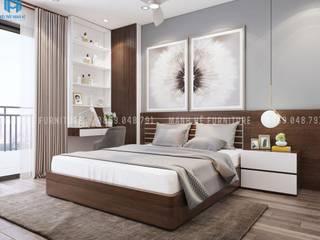 Thiết kế nội thất căn hộ chung HaDo Centrosa Garden 86m2 có 2 phòng ngủ - Cô Hồng, Quận 10, TP.HCM Phòng ngủ phong cách hiện đại bởi Công ty TNHH Nội Thất Mạnh Hệ Hiện đại