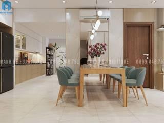 Thiết kế nội thất căn hộ chung HaDo Centrosa Garden 86m2 có 2 phòng ngủ - Cô Hồng, Quận 10, TP.HCM Phòng ăn phong cách hiện đại bởi Công ty TNHH Nội Thất Mạnh Hệ Hiện đại