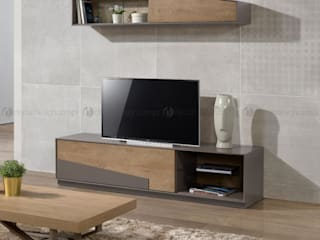 Decordesign Interiores SalasMuebles de televisión y dispositivos electrónicos Aglomerado Gris