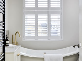 A Stunning Scandi Style Home in Fulham Plantation Shutters Ltd Scandinavian style bathrooms MDF White