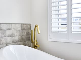 A Stunning Scandi Style Home in Fulham Plantation Shutters Ltd Scandinavian style bathroom MDF White